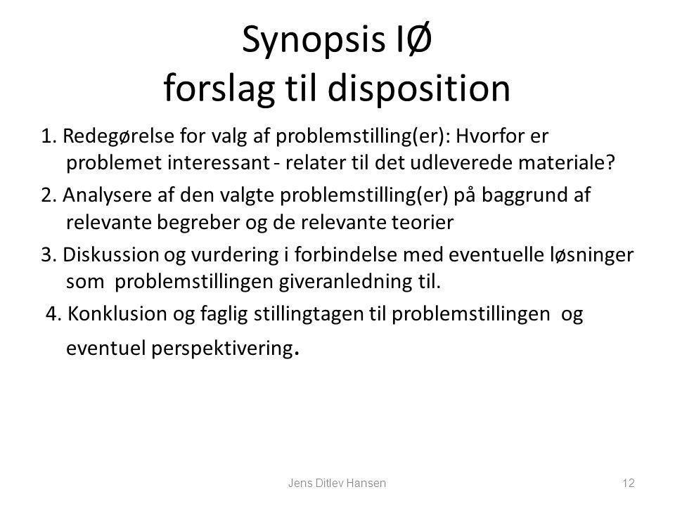 Synopsis IØ forslag til disposition