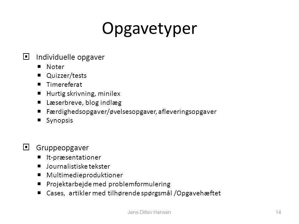 Opgavetyper Individuelle opgaver Gruppeopgaver Noter Quizzer/tests