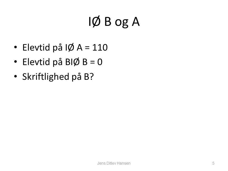 IØ B og A Elevtid på IØ A = 110 Elevtid på BIØ B = 0