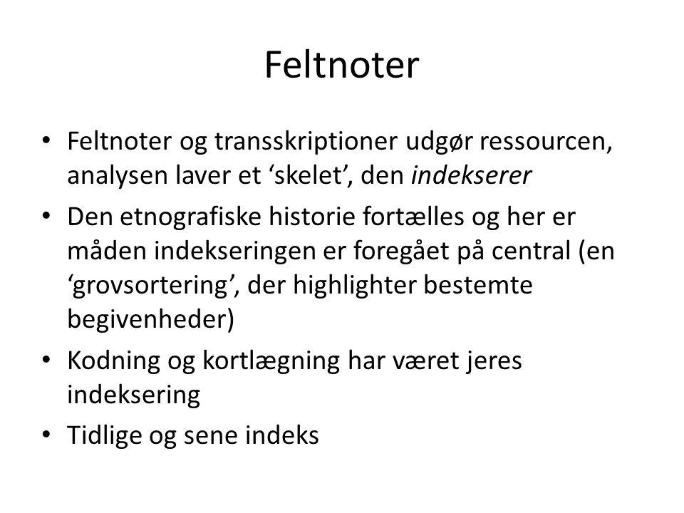 Feltnoter Feltnoter og transskriptioner udgør ressourcen, analysen laver et 'skelet', den indekserer.