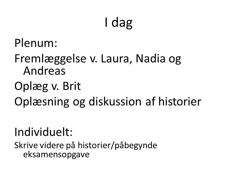 I dag Plenum: Fremlæggelse v. Laura, Nadia og Andreas Oplæg v. Brit