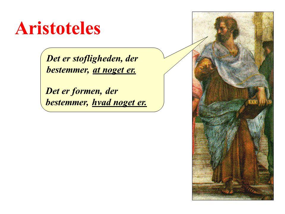 Aristoteles Det er stofligheden, der bestemmer, at noget er.
