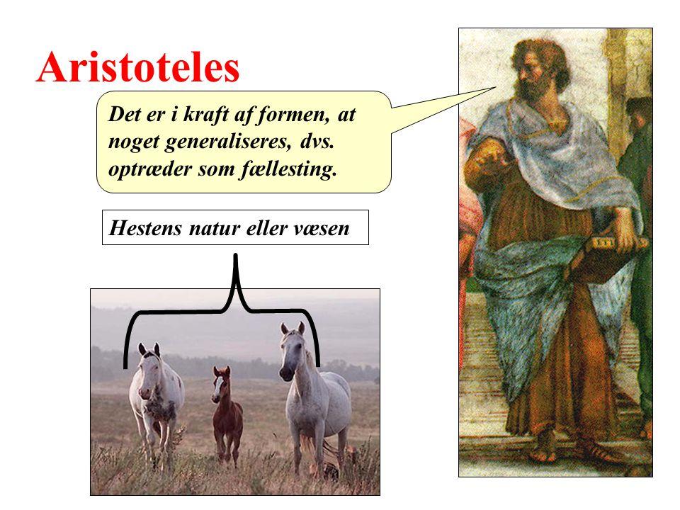 Aristoteles Det er i kraft af formen, at noget generaliseres, dvs.