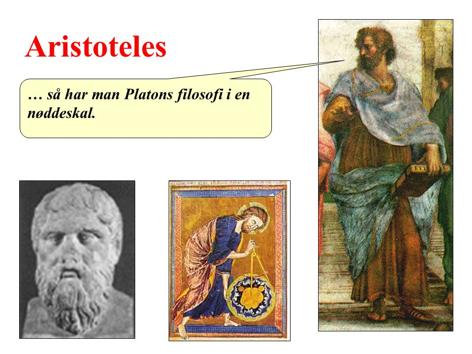 Aristoteles … så har man Platons filosofi i en nøddeskal.