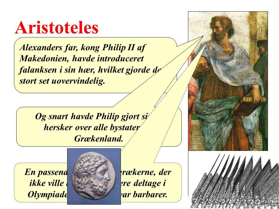 Aristoteles Alexanders far, kong Philip II af Makedonien, havde introduceret falanksen i sin hær, hvilket gjorde den stort set uovervindelig.