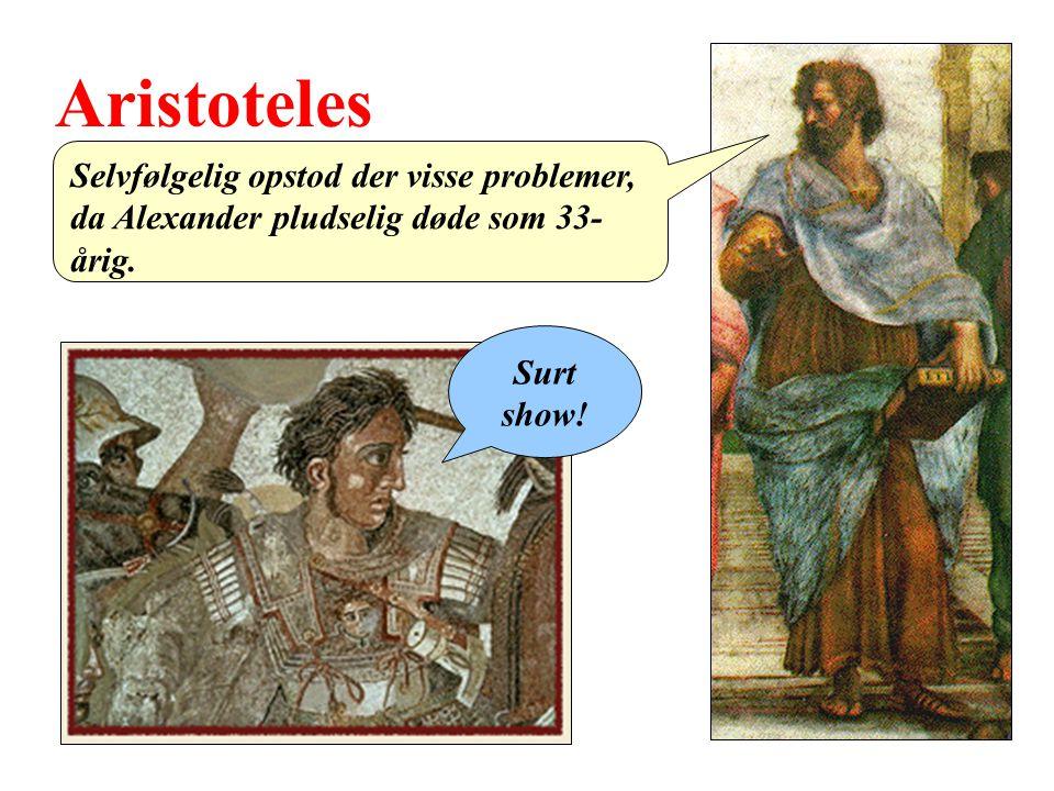 Aristoteles Selvfølgelig opstod der visse problemer, da Alexander pludselig døde som 33-årig.