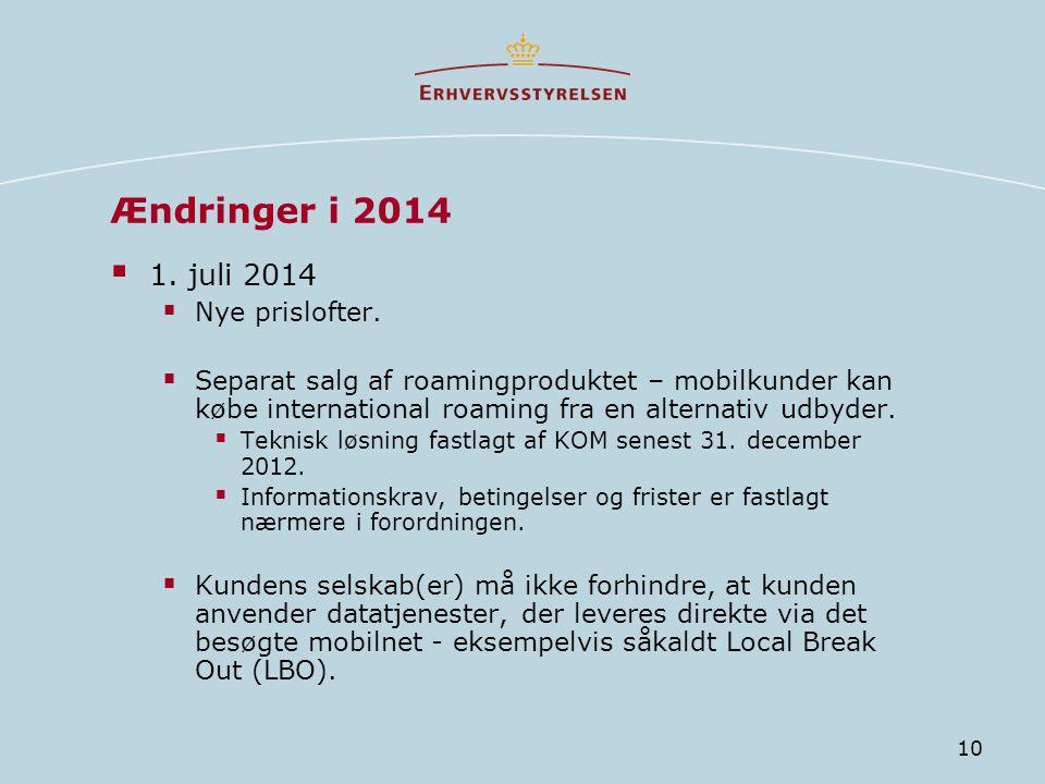 Ændringer i 2014 1. juli 2014 Nye prislofter.