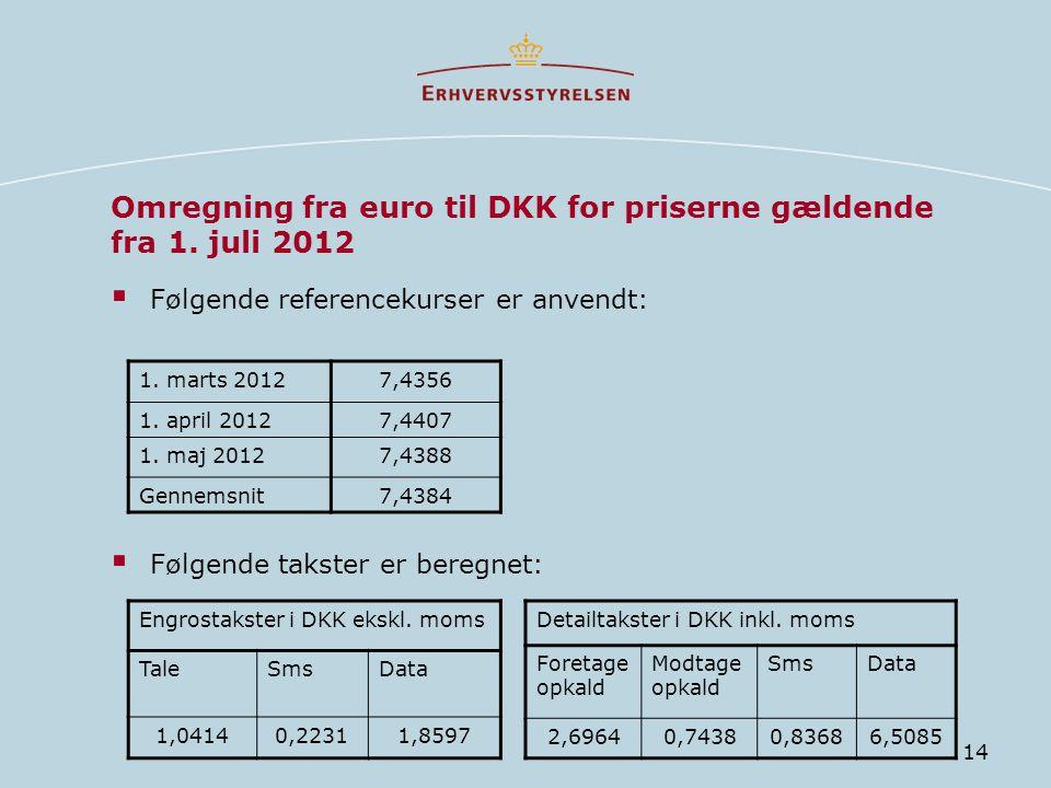 Omregning fra euro til DKK for priserne gældende fra 1. juli 2012