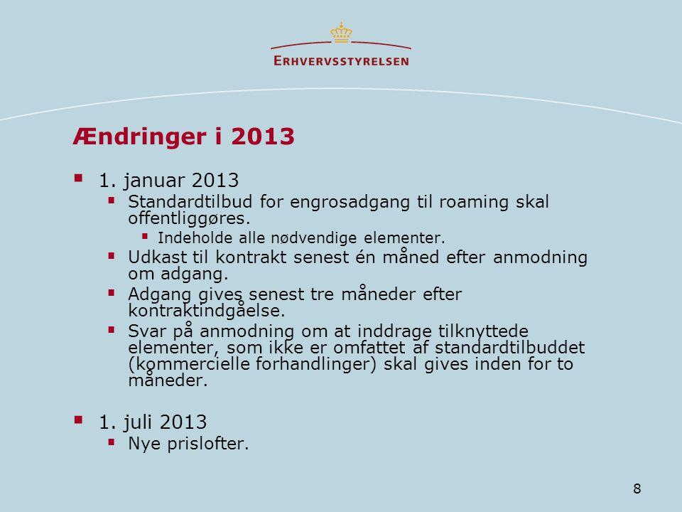 Ændringer i 2013 1. januar 2013 1. juli 2013