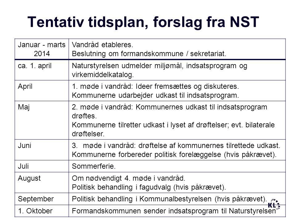 Tentativ tidsplan, forslag fra NST