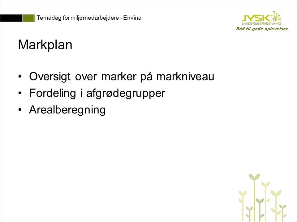 Markplan Oversigt over marker på markniveau Fordeling i afgrødegrupper