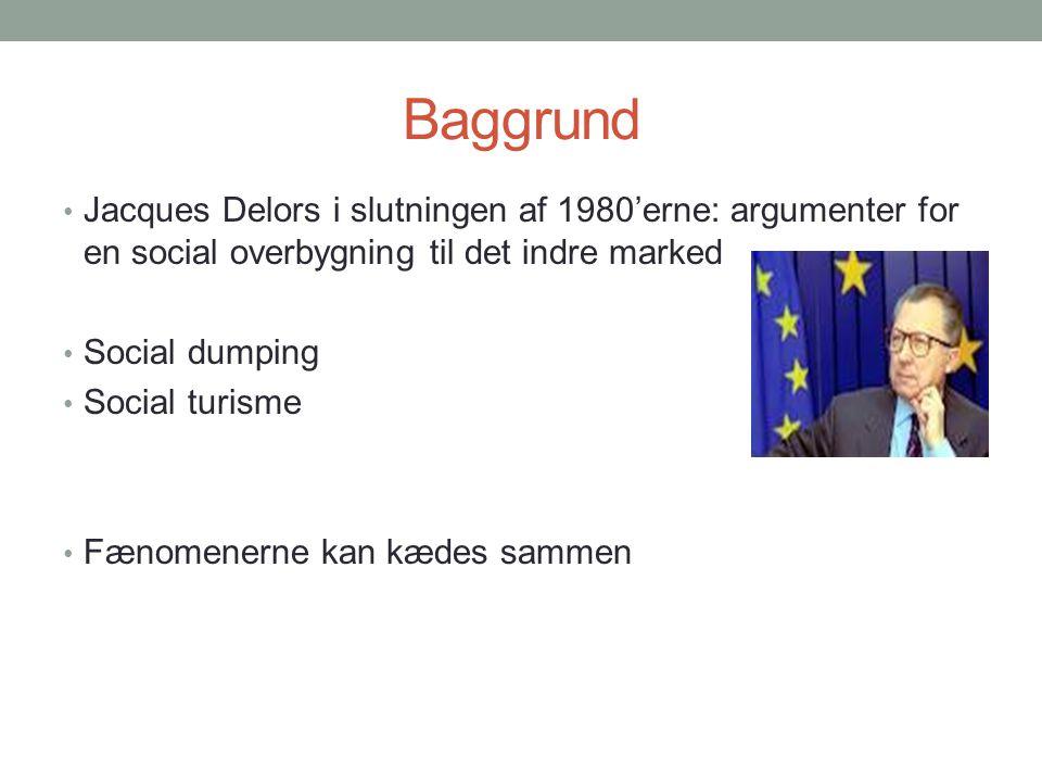 Baggrund Jacques Delors i slutningen af 1980'erne: argumenter for en social overbygning til det indre marked.