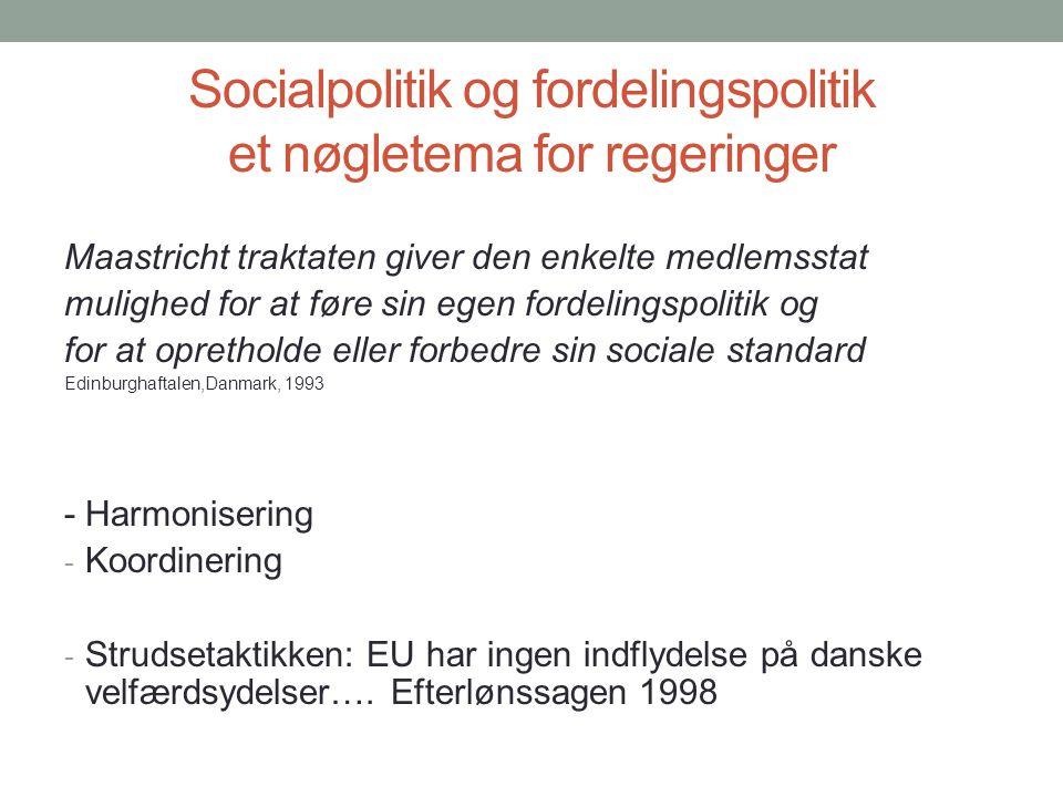 Socialpolitik og fordelingspolitik et nøgletema for regeringer
