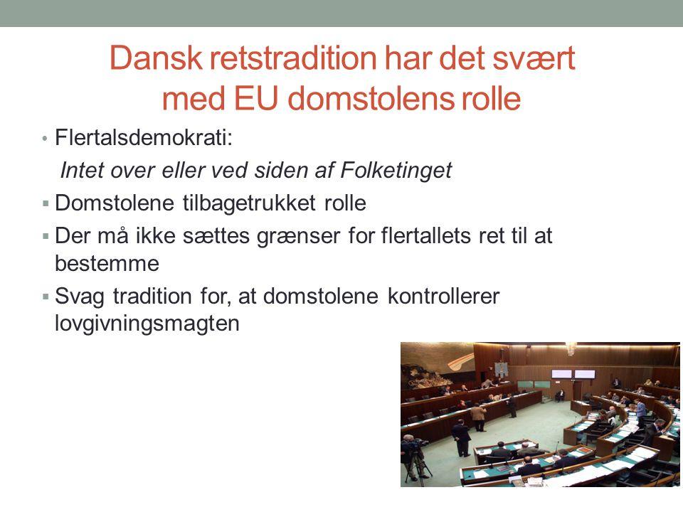 Dansk retstradition har det svært med EU domstolens rolle