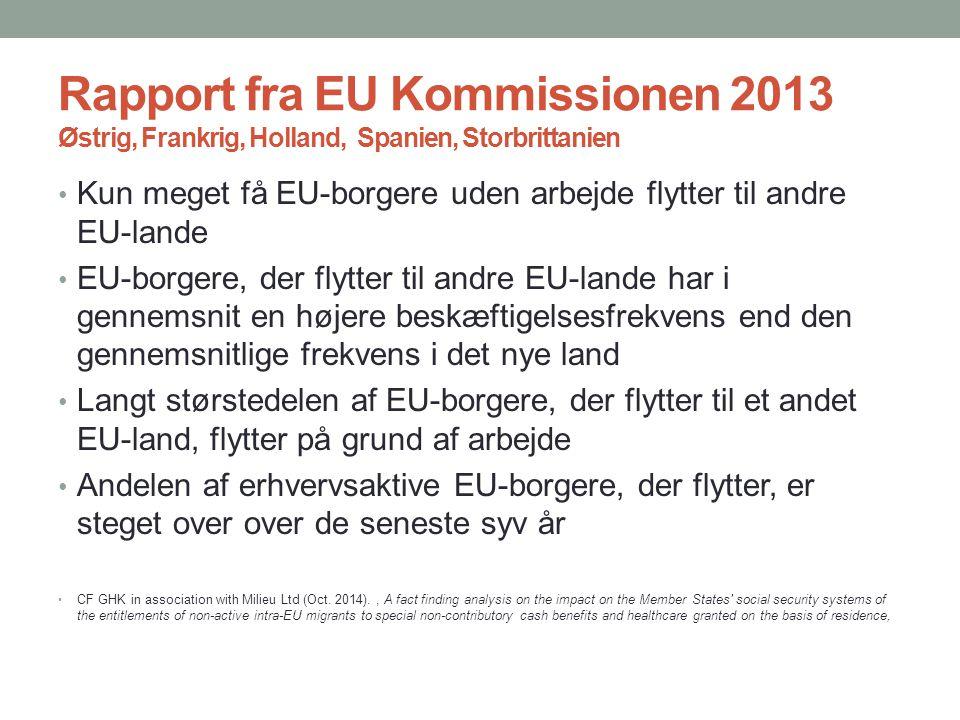 Rapport fra EU Kommissionen 2013 Østrig, Frankrig, Holland, Spanien, Storbrittanien