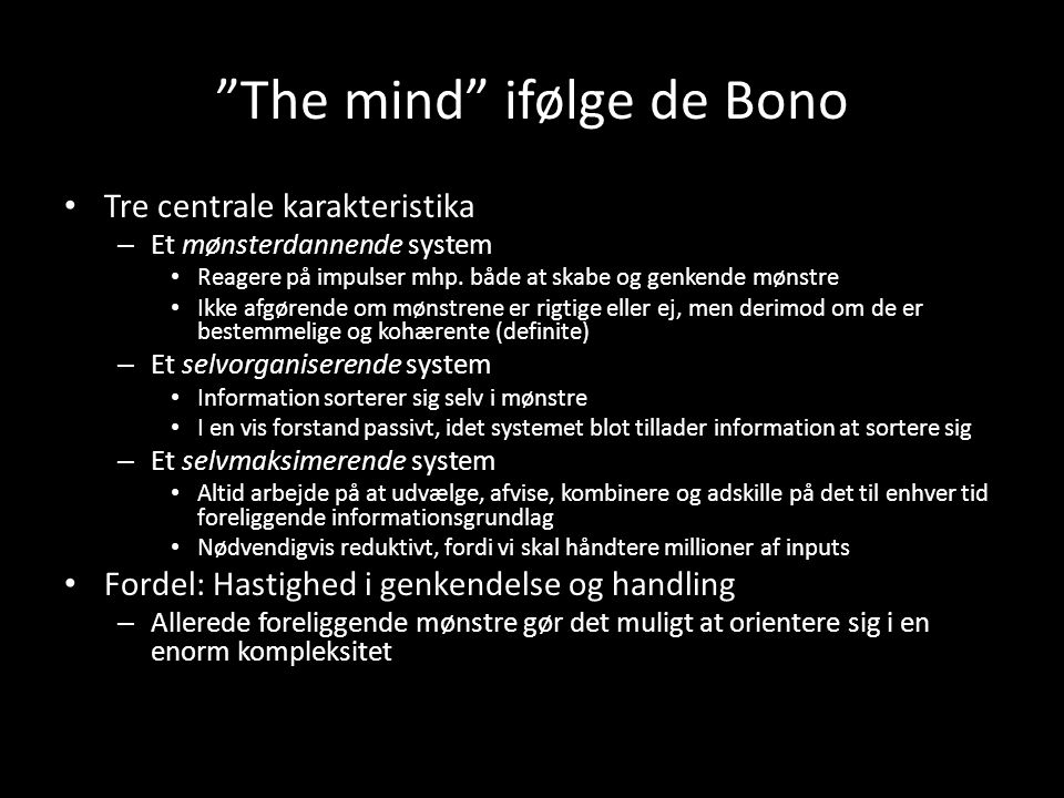 The mind ifølge de Bono