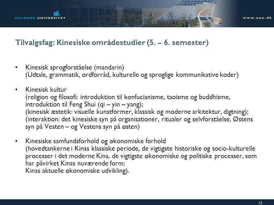 Tilvalgsfag: Kinesiske områdestudier (5. – 6. semester)