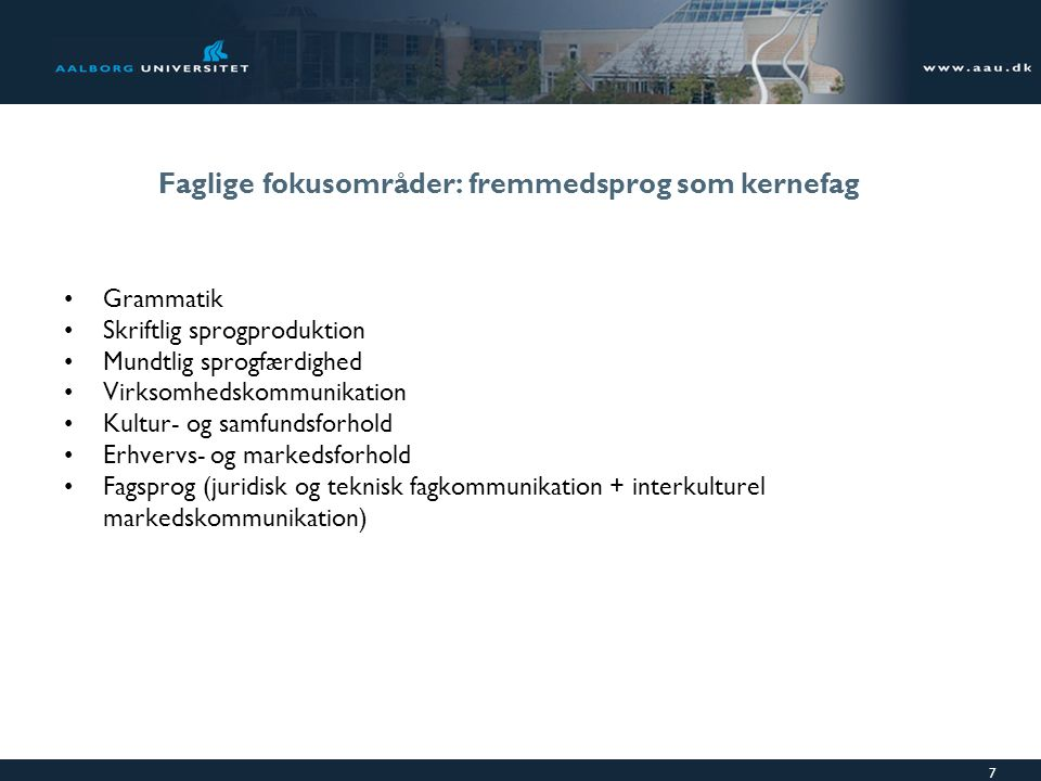 Faglige fokusområder: fremmedsprog som kernefag