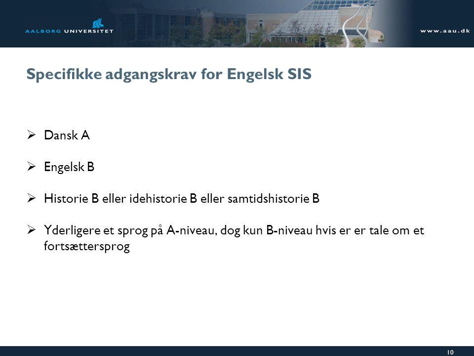 Specifikke adgangskrav for Engelsk SIS