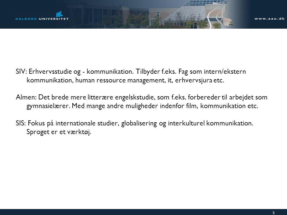 SIV: Erhvervsstudie og - kommunikation. Tilbyder f. eks