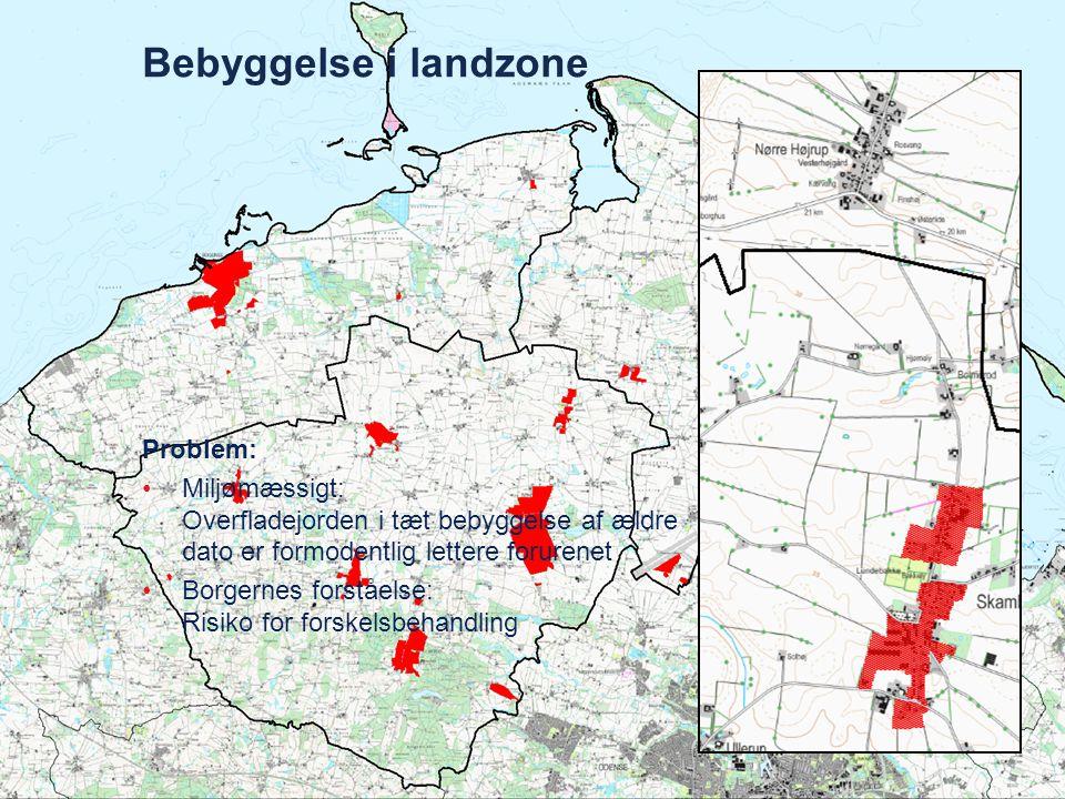 Bebyggelse i landzone Landsbyerne A og B er: - lige store - lige gamle