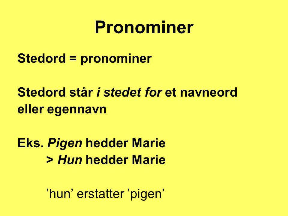 Pronominer Stedord = pronominer Stedord står i stedet for et navneord