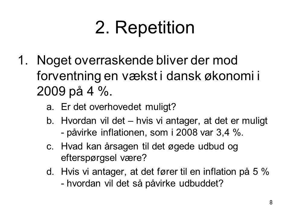 2. Repetition Noget overraskende bliver der mod forventning en vækst i dansk økonomi i 2009 på 4 %.