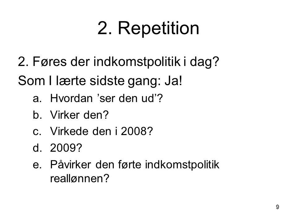 2. Repetition 2. Føres der indkomstpolitik i dag