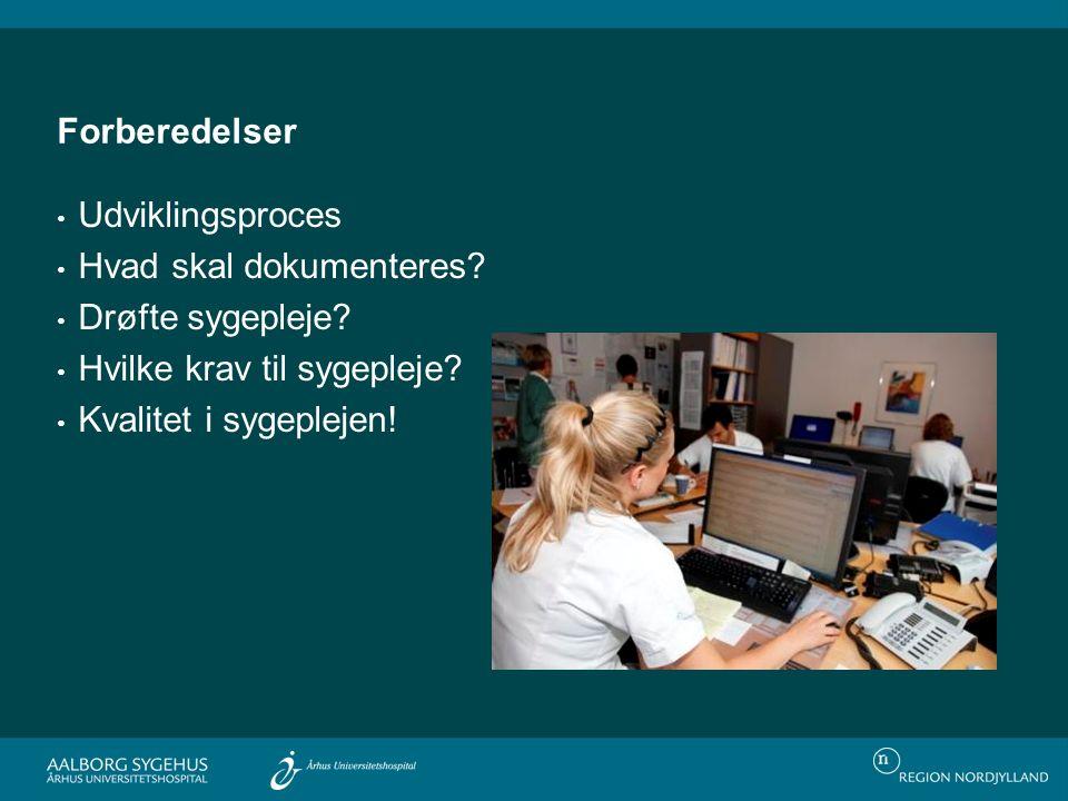 Forberedelser Udviklingsproces. Hvad skal dokumenteres Drøfte sygepleje Hvilke krav til sygepleje