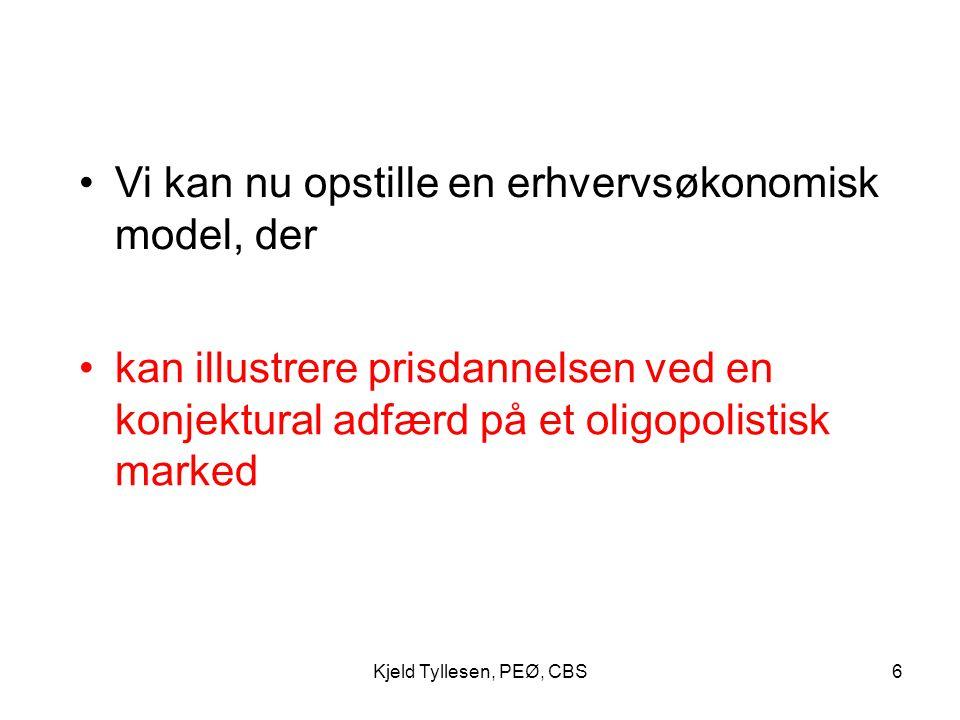 Vi kan nu opstille en erhvervsøkonomisk model, der