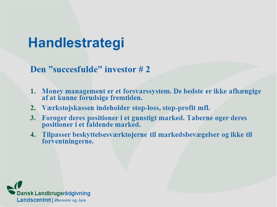 Handlestrategi Den succesfulde investor # 2