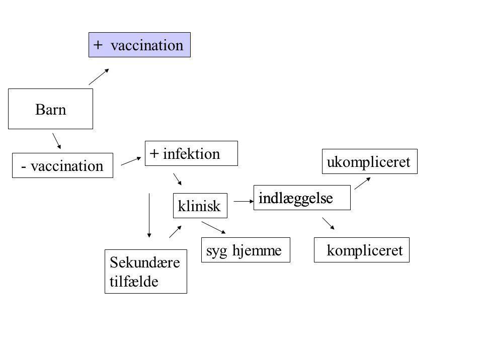+ vaccination Barn. + infektion. ukompliceret. - vaccination. indlæggelse. indlæggelse. klinisk.