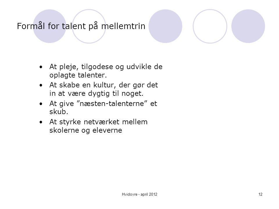 Formål for talent på mellemtrin