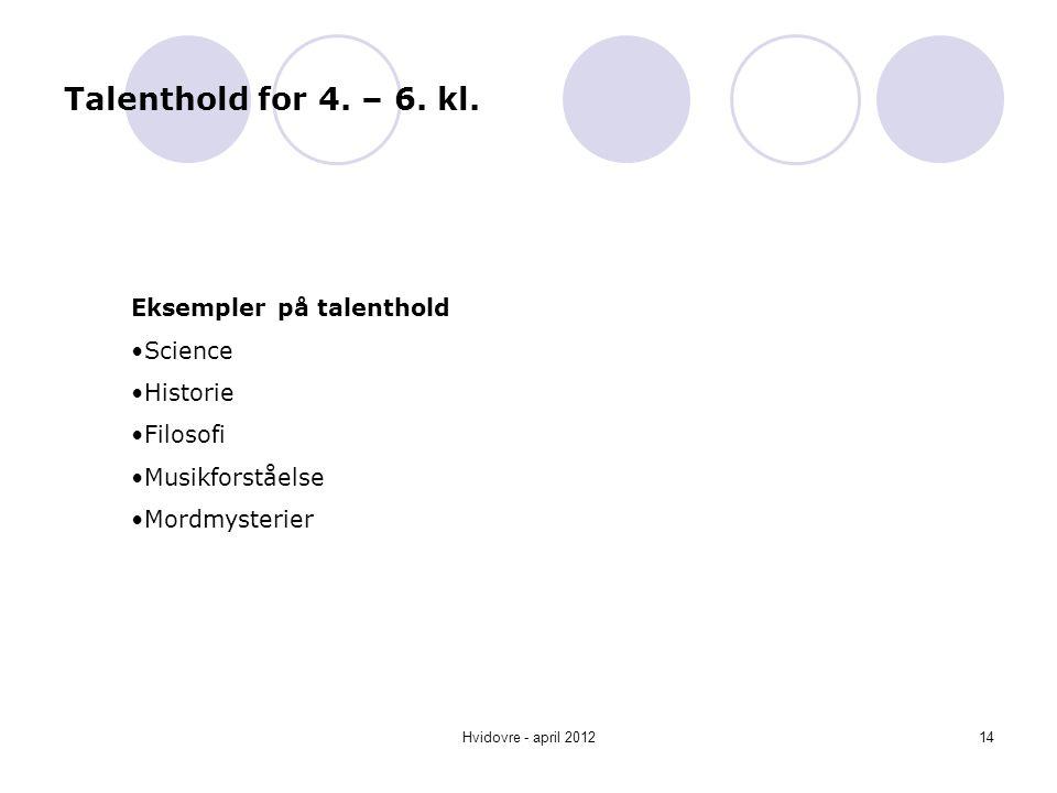 Talenthold for 4. – 6. kl. Eksempler på talenthold Science Historie