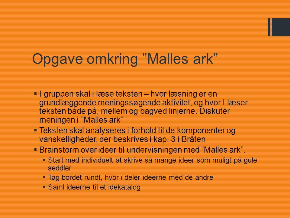 Opgave omkring Malles ark