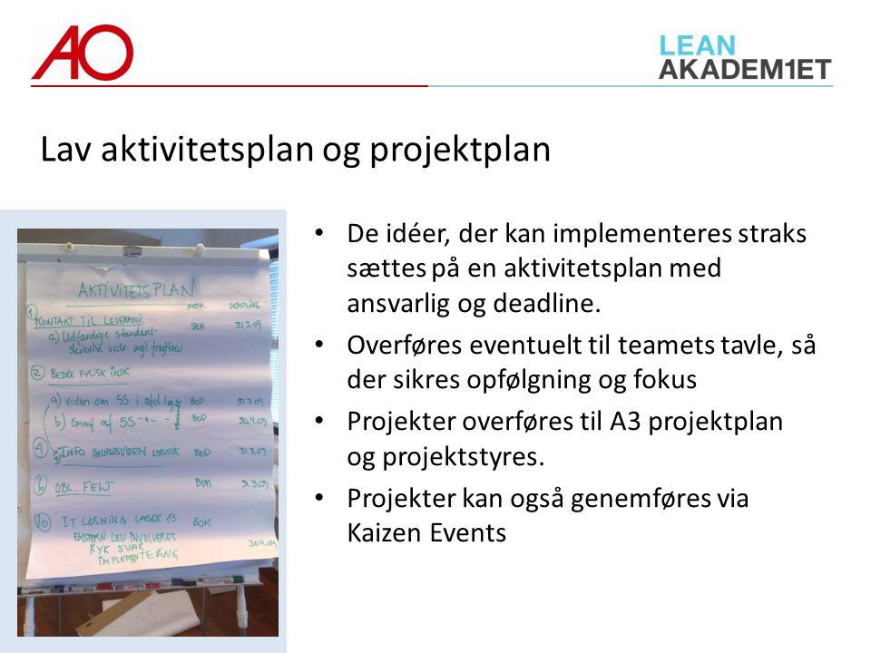 Lav aktivitetsplan og projektplan