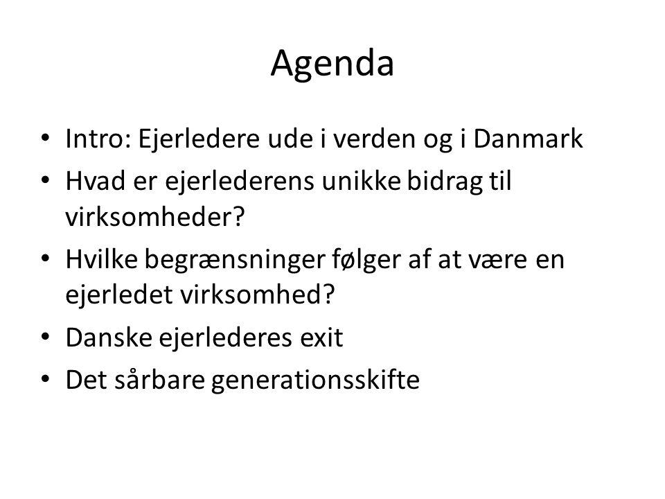 Agenda Intro: Ejerledere ude i verden og i Danmark