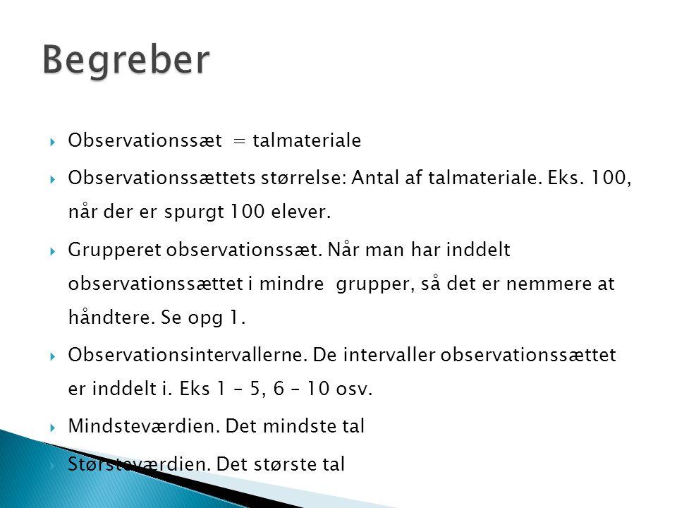 Begreber Observationssæt = talmateriale