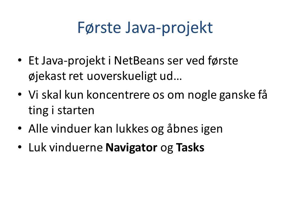 Første Java-projekt Et Java-projekt i NetBeans ser ved første øjekast ret uoverskueligt ud…