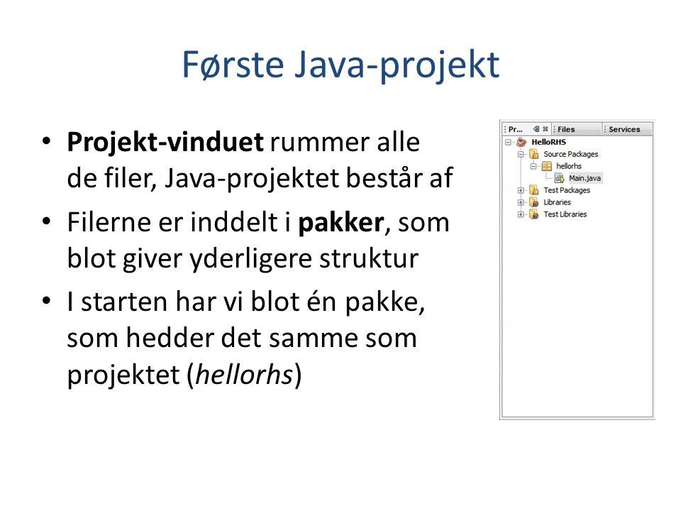 Første Java-projekt Projekt-vinduet rummer alle de filer, Java-projektet består af. Filerne er inddelt i pakker, som blot giver yderligere struktur.