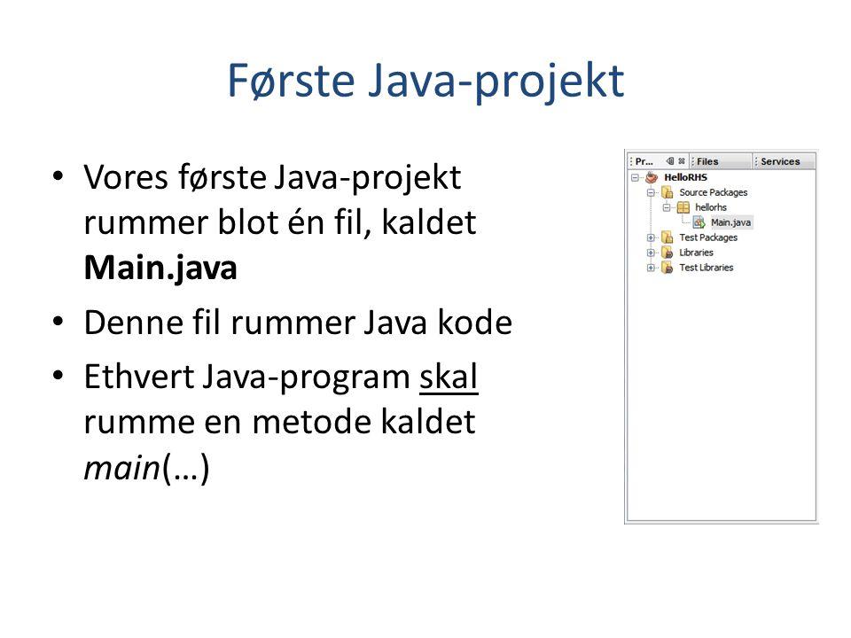 Første Java-projekt Vores første Java-projekt rummer blot én fil, kaldet Main.java. Denne fil rummer Java kode.