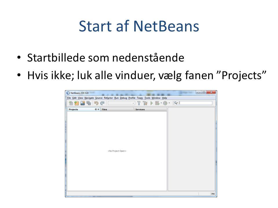 Start af NetBeans Startbillede som nedenstående
