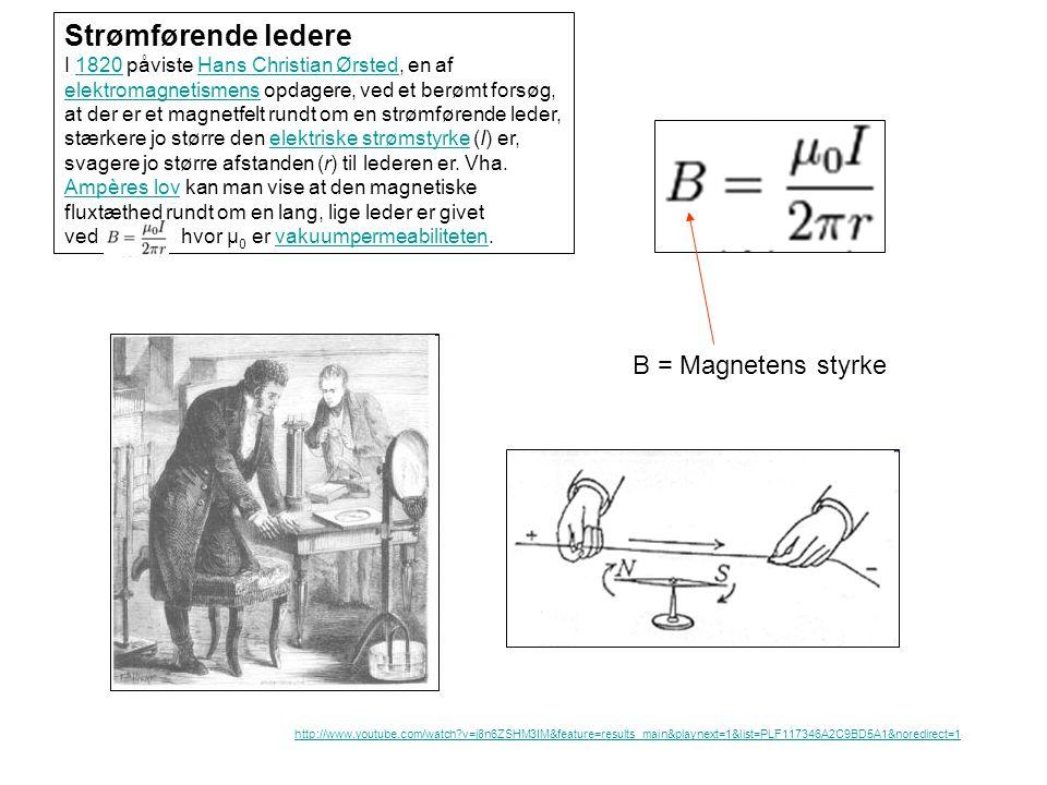 Strømførende ledere B = Magnetens styrke
