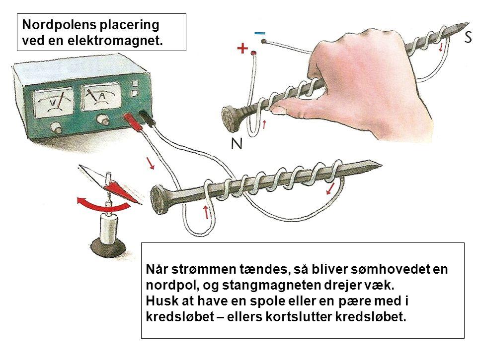 Nordpolens placering ved en elektromagnet.