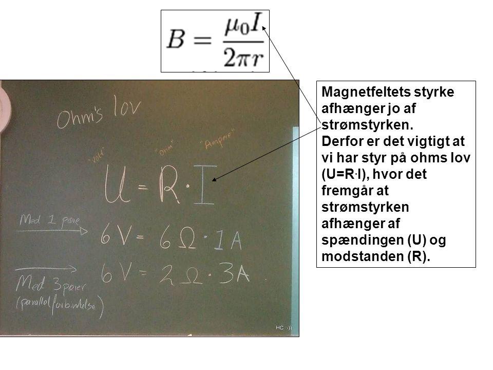 Magnetfeltets styrke afhænger jo af strømstyrken.