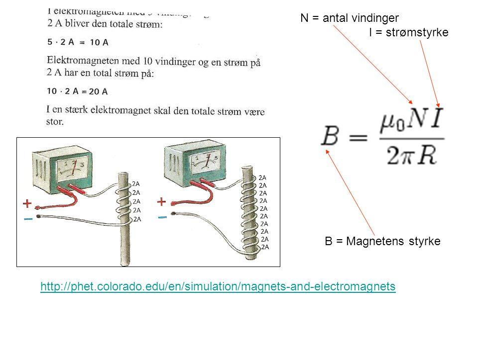 N = antal vindinger I = strømstyrke. B = Magnetens styrke.
