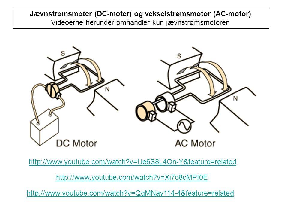 Jævnstrømsmoter (DC-moter) og vekselstrømsmotor (AC-motor)