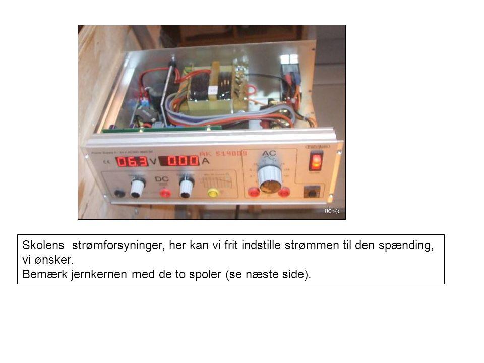 Skolens strømforsyninger, her kan vi frit indstille strømmen til den spænding,