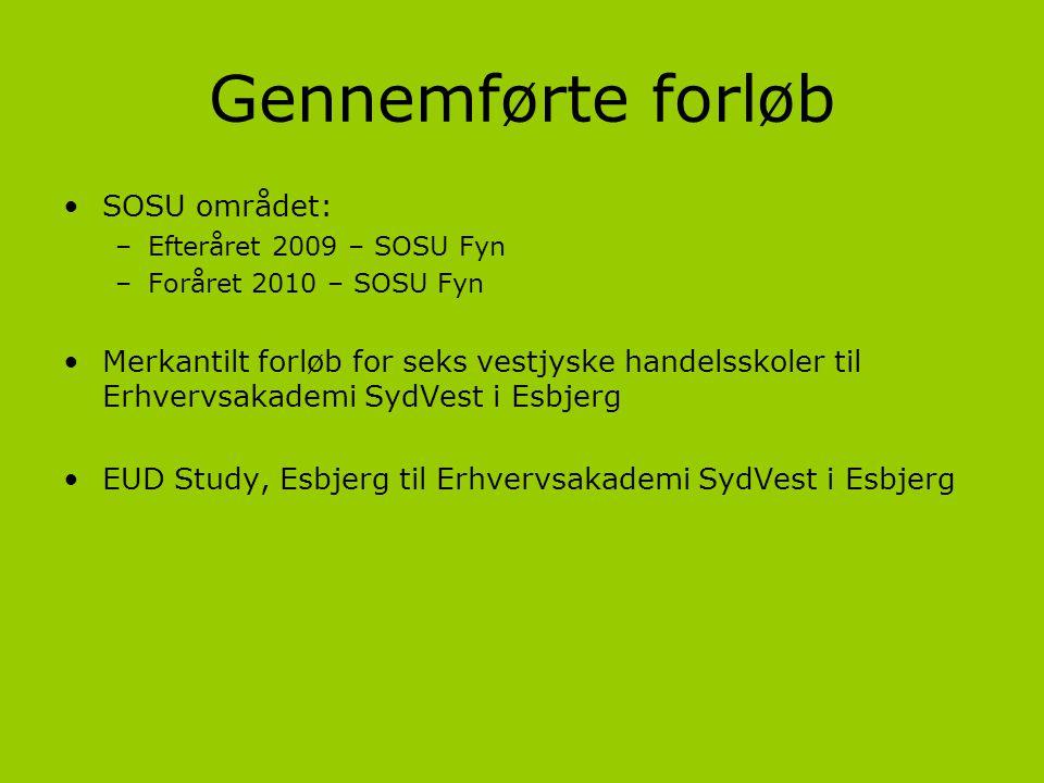 Gennemførte forløb SOSU området:
