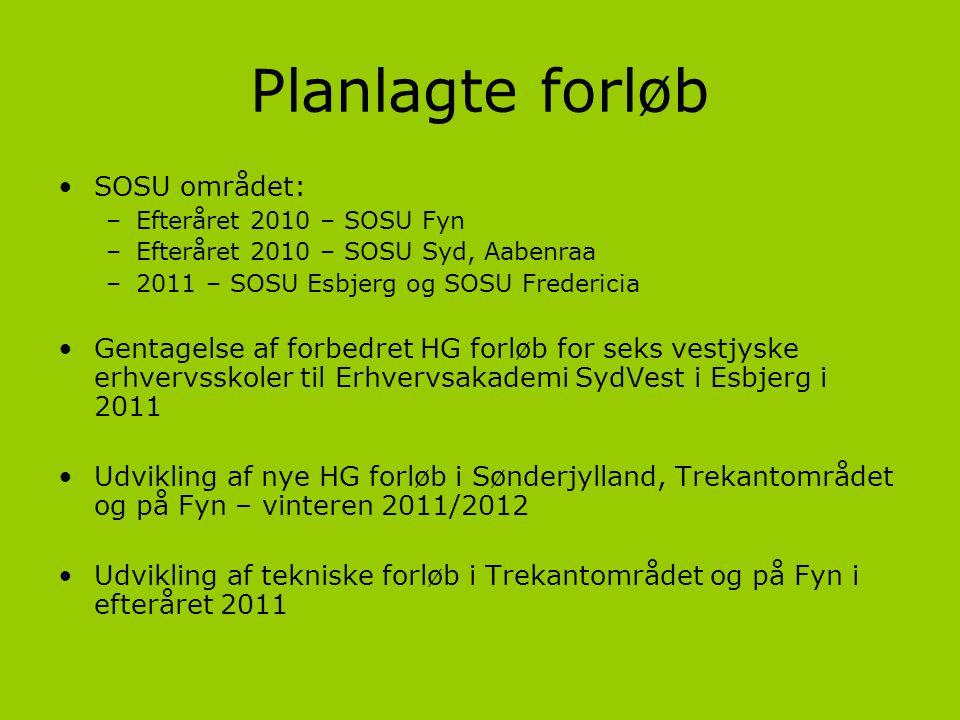 Planlagte forløb SOSU området: